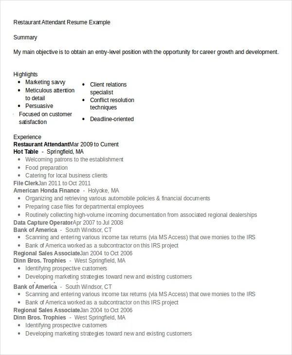 Restaurant Resume - 10+ Free Word, PDF Documents Download Free - restaurant resume template