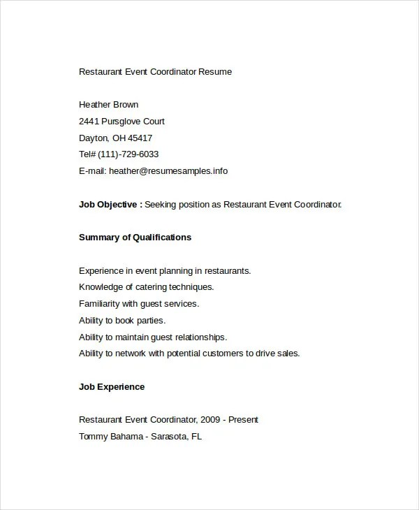 Restaurant Resume - 10+ Free Word, PDF Documents Download Free