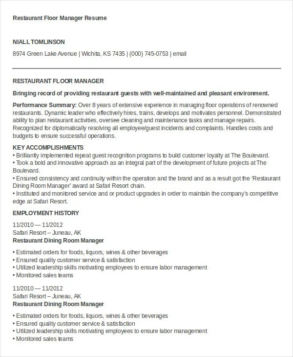 100+  Restaurant Job Resume  Assistant Restaurant Manager - restaurant skills resume