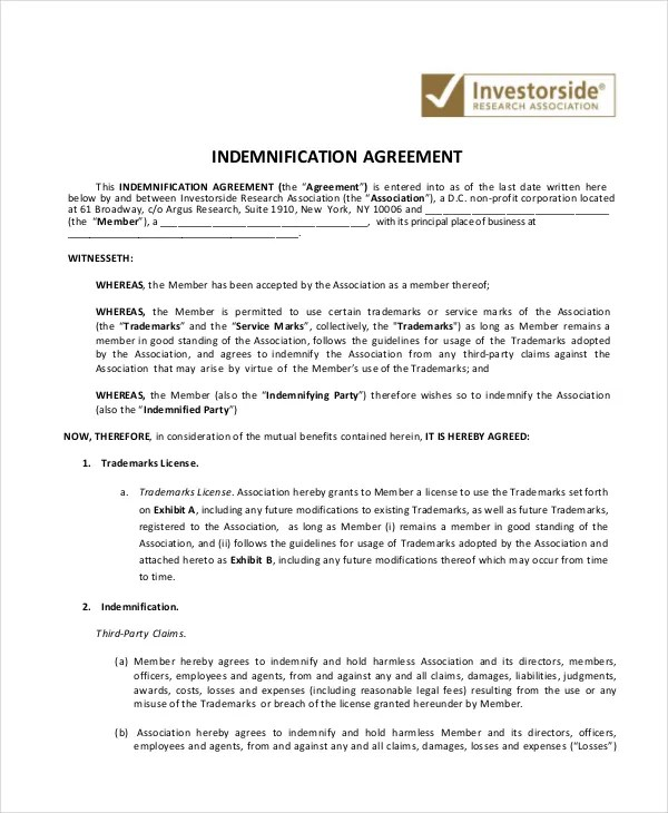 10+ Indemnity Agreements - Free Sample, Example, Format Free - indemnity letter template