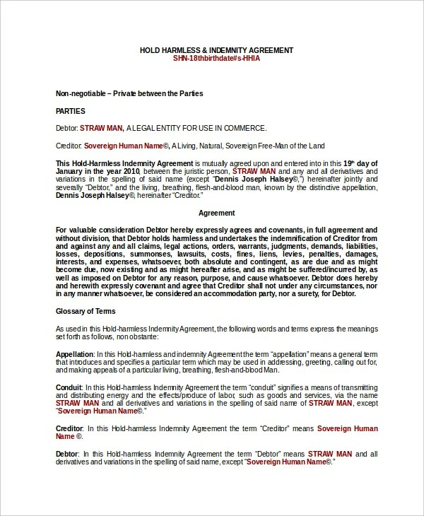 Indemnity Agreement Template Colbro