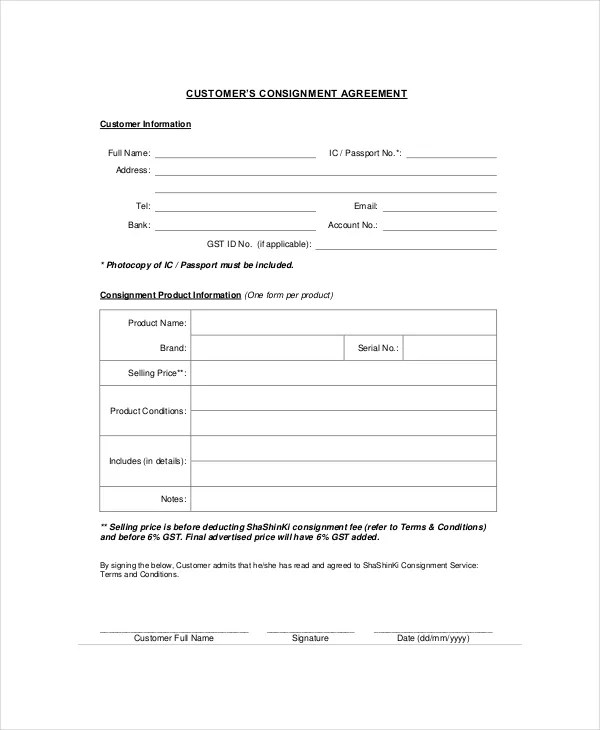Consignment Agreement - 10+ Free PDF, Word Documents Download Free