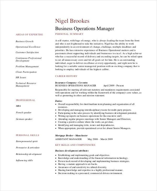 Great Resume Templates For Microsoft Word 7+ Operations Manager Resume - Free Sample, Example