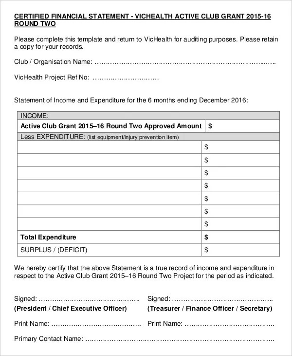 Statement Form Examples Of Financial Statements Template Best - financial statements templates