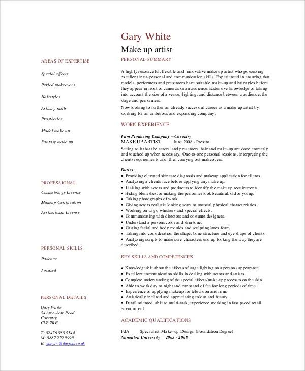 make up artist resumes - Goalgoodwinmetals