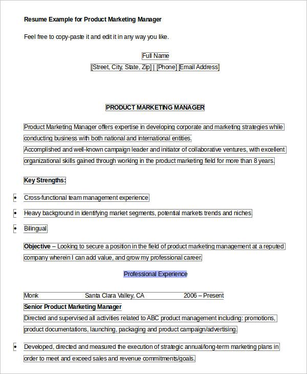 9+ Product Manager Resume Templates - PDF, DOC Free  Premium - product marketing manager resume