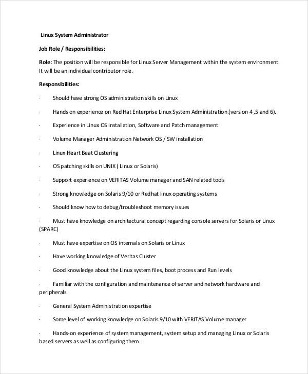 Systems Administrator Job Description Systems Administrator Job - linux administrator resume