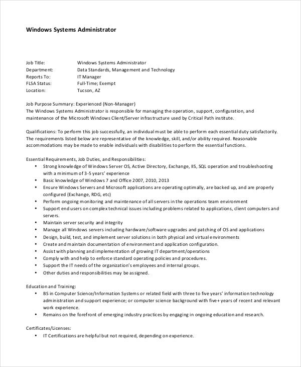 System Administrator Job Description - Free Sample, Example, Format