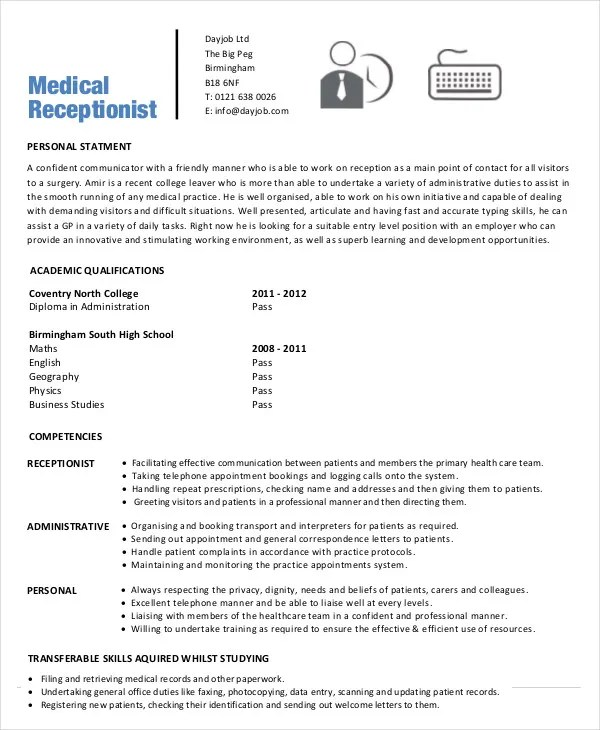 Sample Of Medical Receptionist Resume Medical Receptionist Cv - medical secretary job description