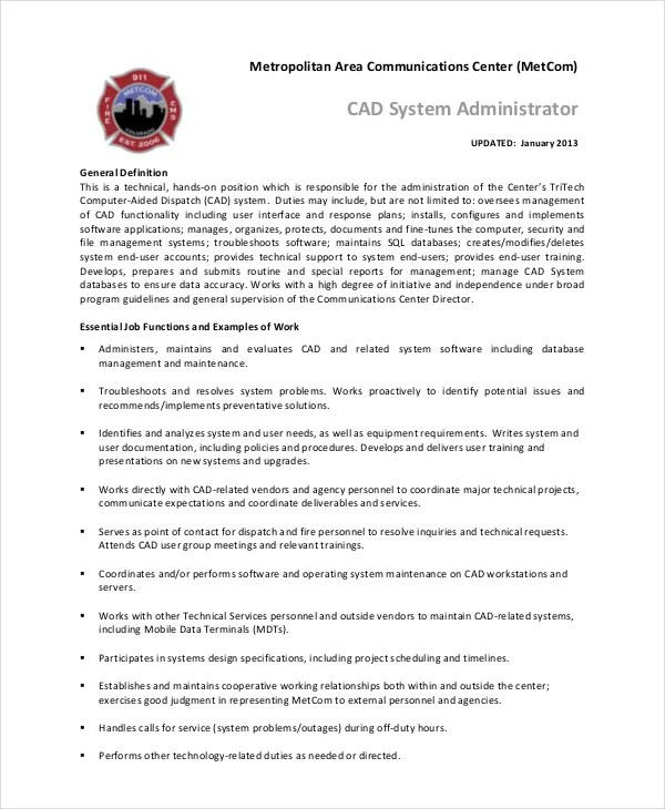 System administrator job description Research paper Academic Service - administrator job description