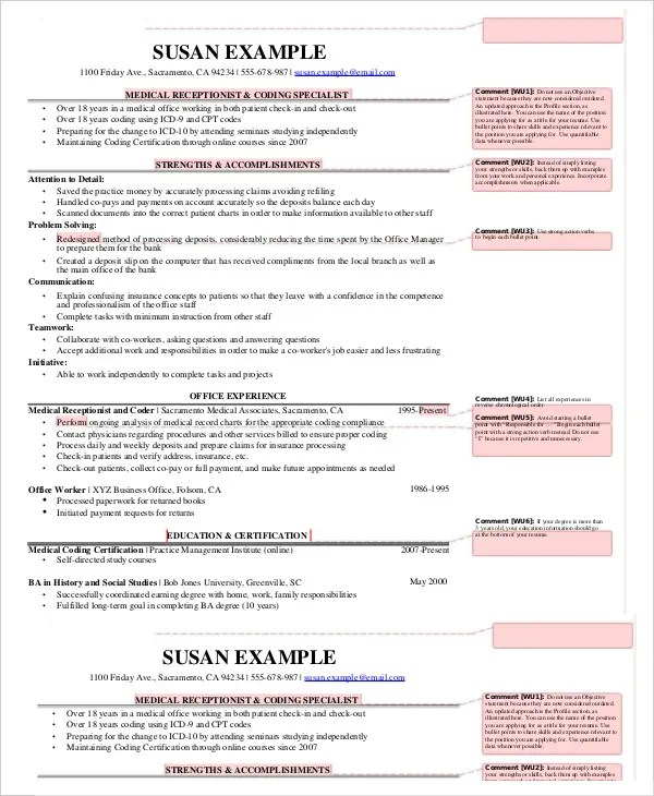 5+ Medical Receptionist Resume Templates - PDF, DOC Free  Premium