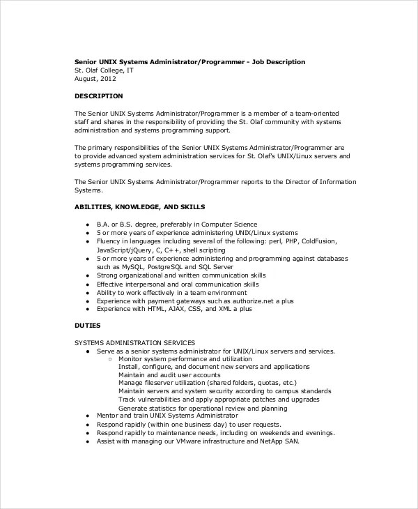 10+ System Administrator Job Description Templates - PDF,DOC Free - senior programmer job description