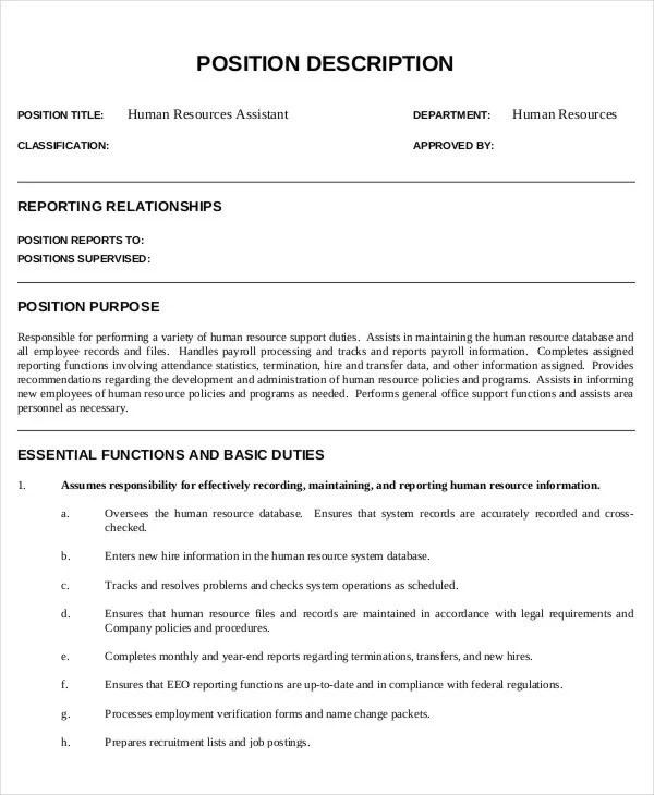 HR Assistant Job Description - 10+ Free Word, PDF Documents Download