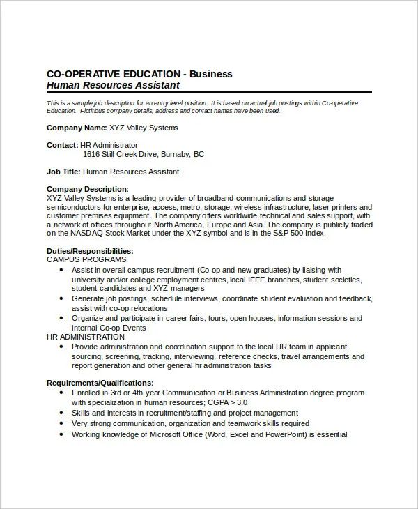 resume for hr job description
