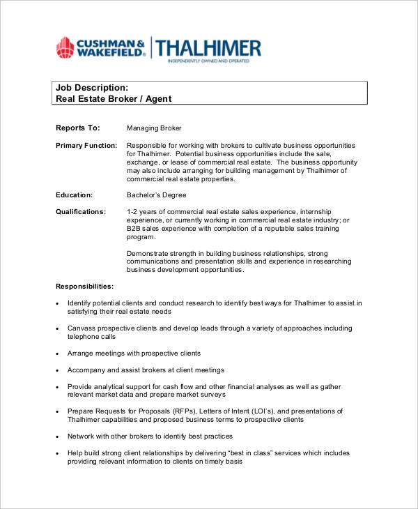 6+ Real Estate Agent Job Descriptions - Free Sample, Example, Format
