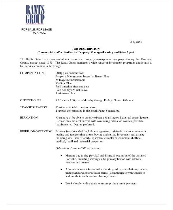 6+ Real Estate Agent Job Descriptions - Free Sample, Example, Format - property management job description