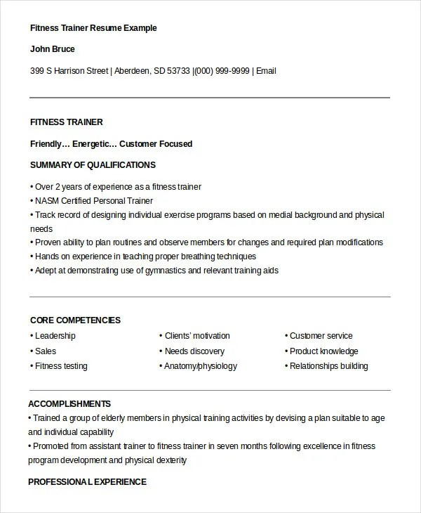 8+ Personal Trainer Resume Templates - PDF, DOC Free  Premium - personal trainer resume examples