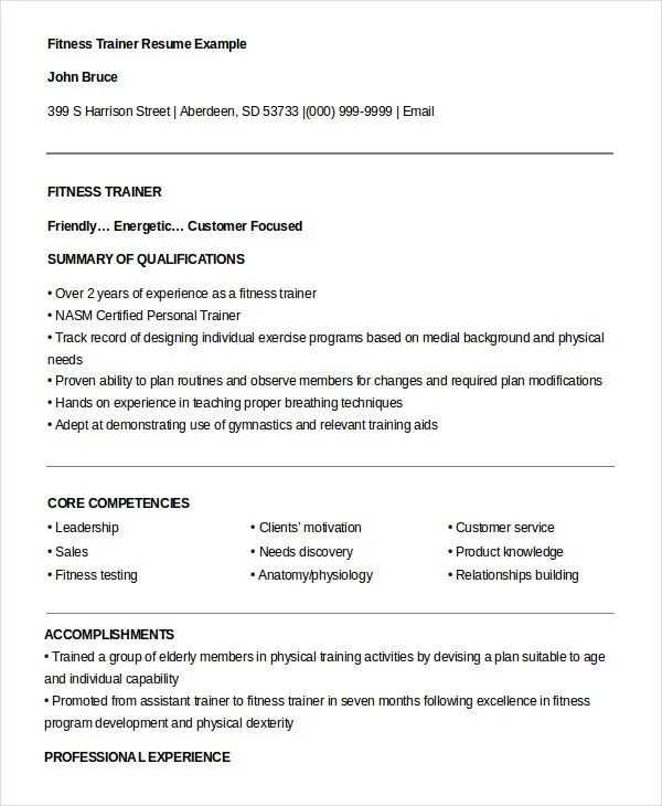 fitness skills resume example