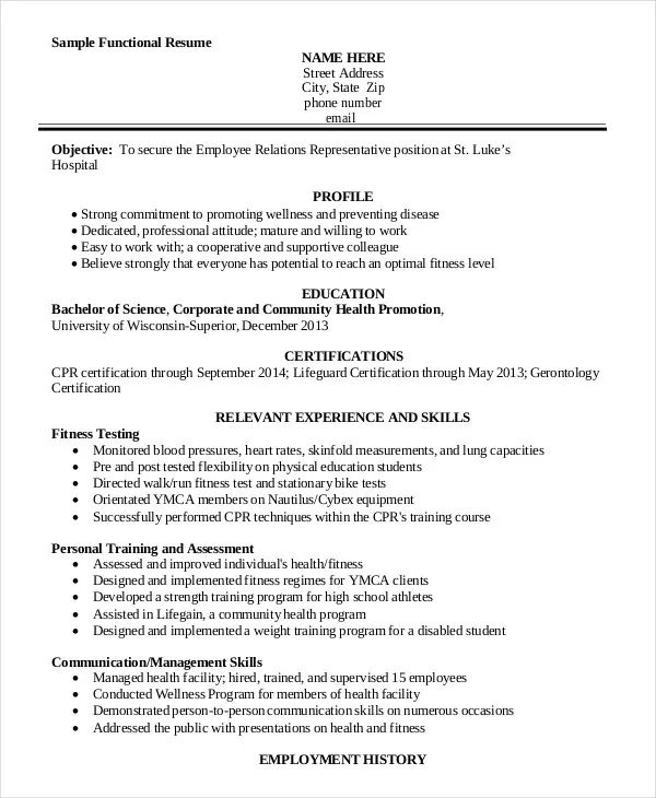 personal trainer resume objective
