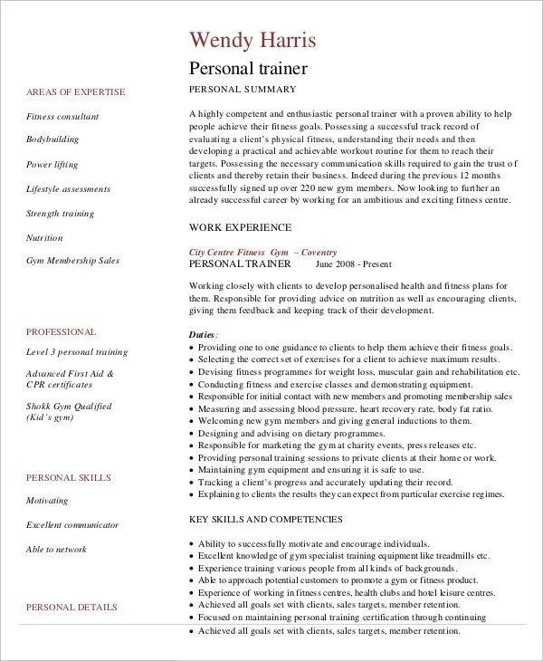 sample resume fitness professional