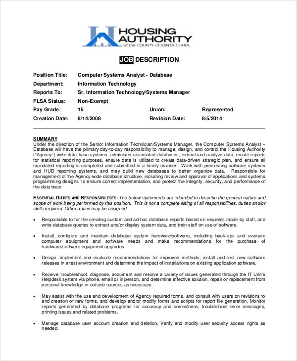 10+ Systems Analyst Job Description Templates - PDF, DOC Free