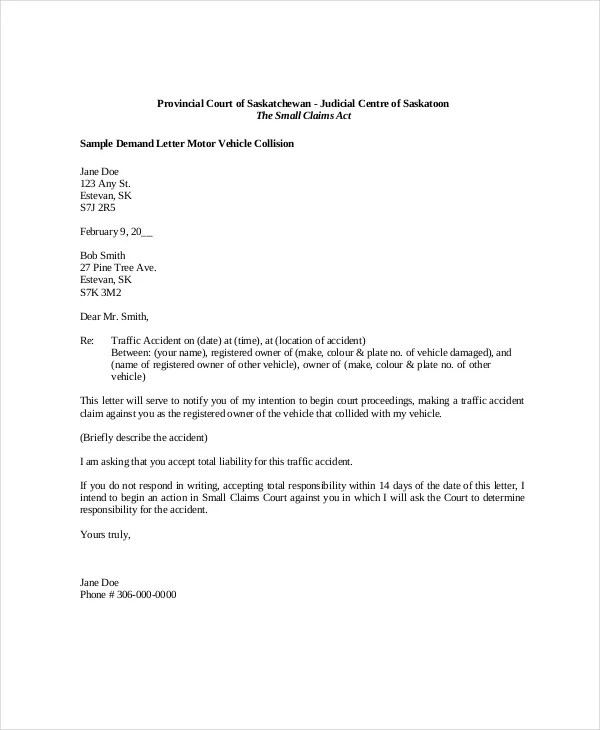 Read Sample Car Accident Demand Letter To Auto Insurance Sample Demand Letter To Landlord For Repairs Cover