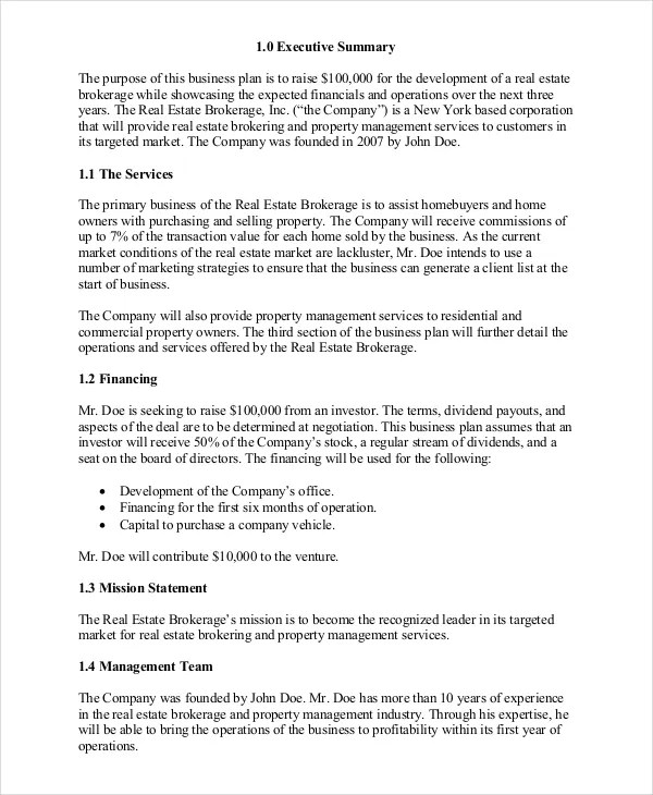 Real Estate Business Plan - 11+ Free PDF, Word Documemts Download