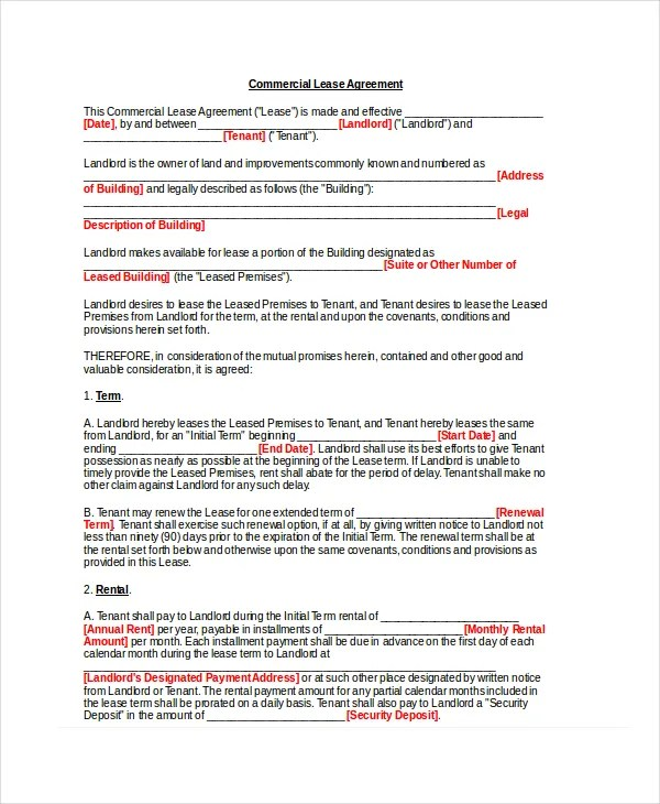 Basic Lease Agreement Example - 9+ Free Word, PDF Documents Download