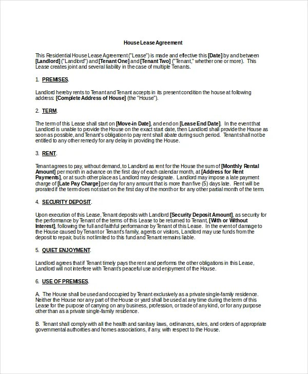 Basic Lease Agreement Example - 9+ Free Word, PDF Documents Download - agreement in word