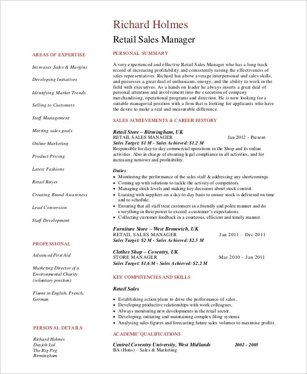 8+ Retail Manager Resumes - Free Sample, Example, Format Free - Resume Retail Manager