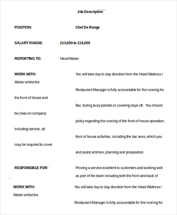 10+ Waiter Job Description Templates - PDF, DOC Free  Premium