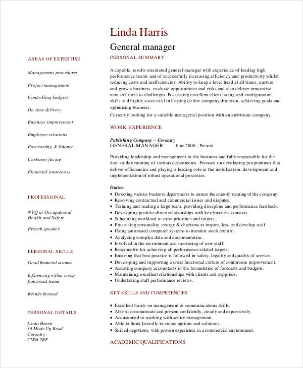 sample resume with business experience