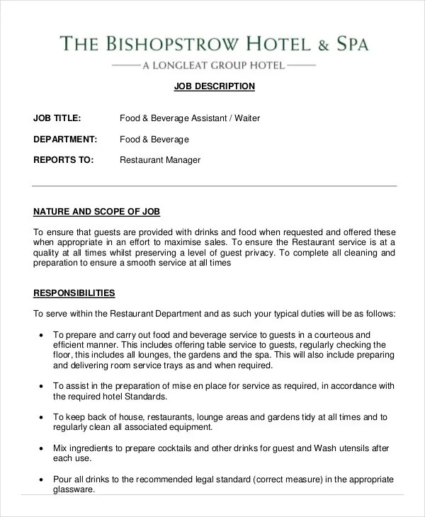 waitress job description cv