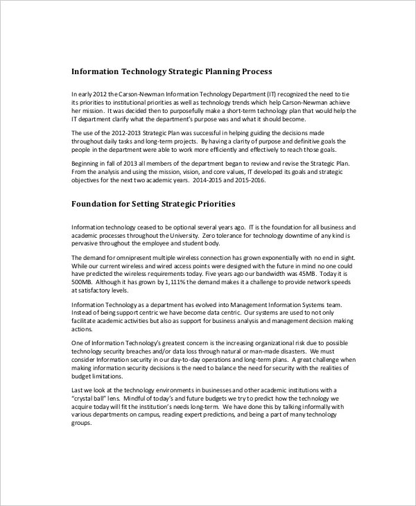 Strategic Planning Template - 13+ Free PDF, Word Documents Download - technology plan template