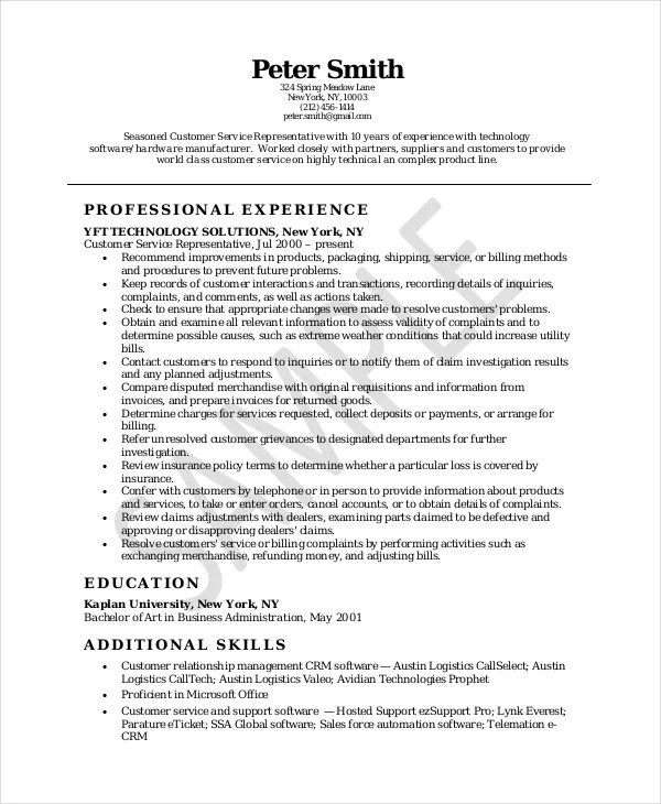 10+ Customer Service Resume Templates - PDF, DOC Free  Premium