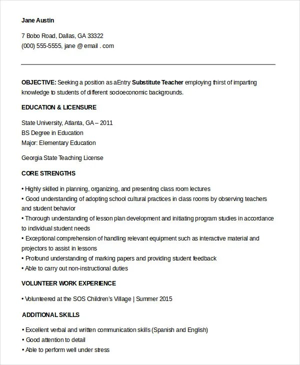 Resume For Substitute Teacher  FiveoutsidersCom
