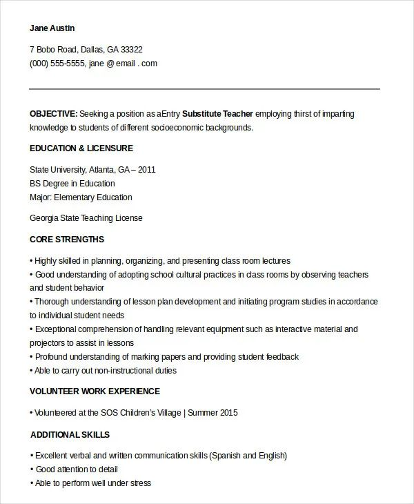 teachers resume samples pdf