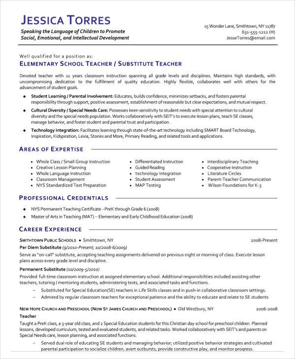 9+ Substitute Teacher Resume Templates - PDF, DOC Free  Premium - teaching professional resumes