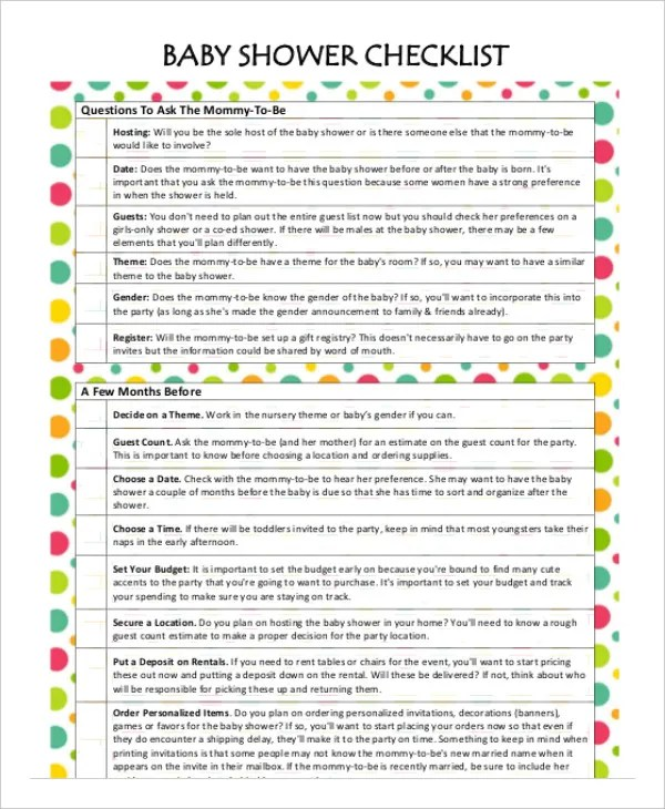 Printable Baby Shower Planner Template - 8+ Free PDF Documents