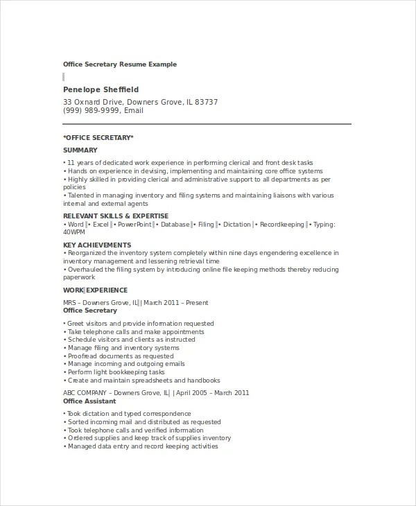 10+ Secretary Resume Templates - PDF, DOC Free  Premium Templates - resume for secretary