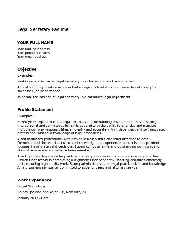 best legal resume samples