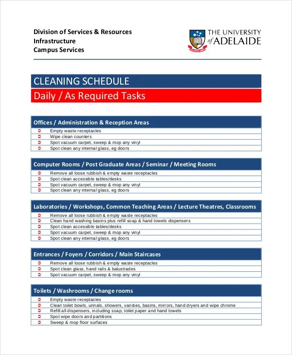 Daily Cleaning Schedule - 15+ Free PDF Documents Download Free