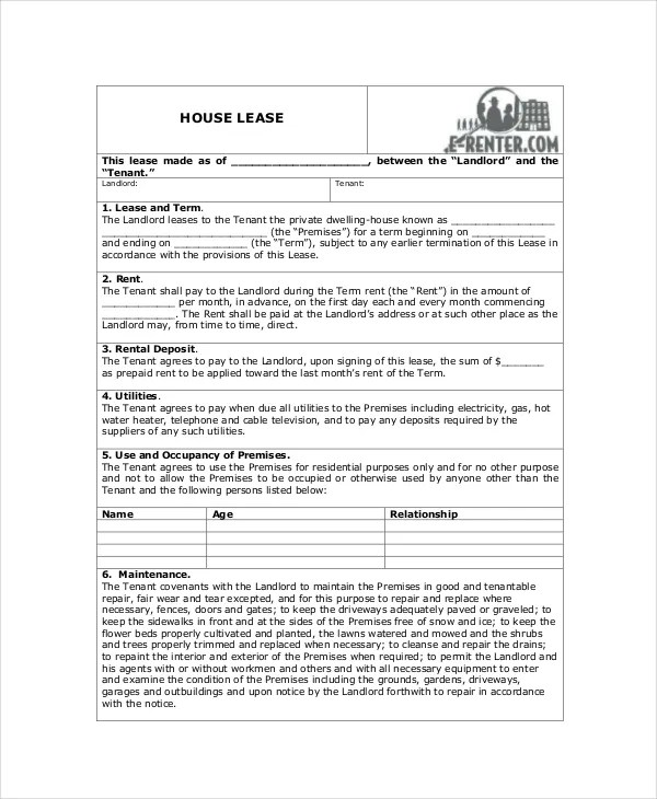 House Lease Agreement - 8+ Free Download Documents in PDF, Word - lease agreement