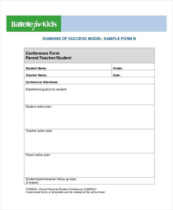 parent teacher conference form template