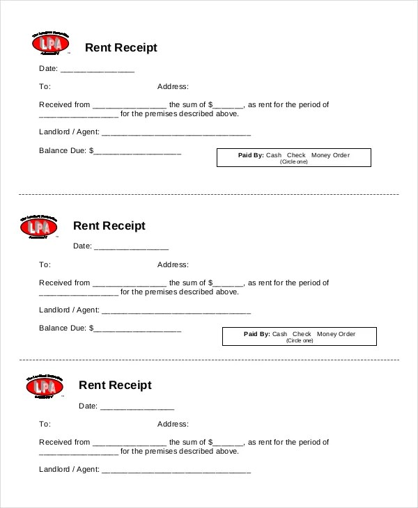 Rent Receipt Template - 9+ Free Word, PDF Documents Download Free - printable rent receipts