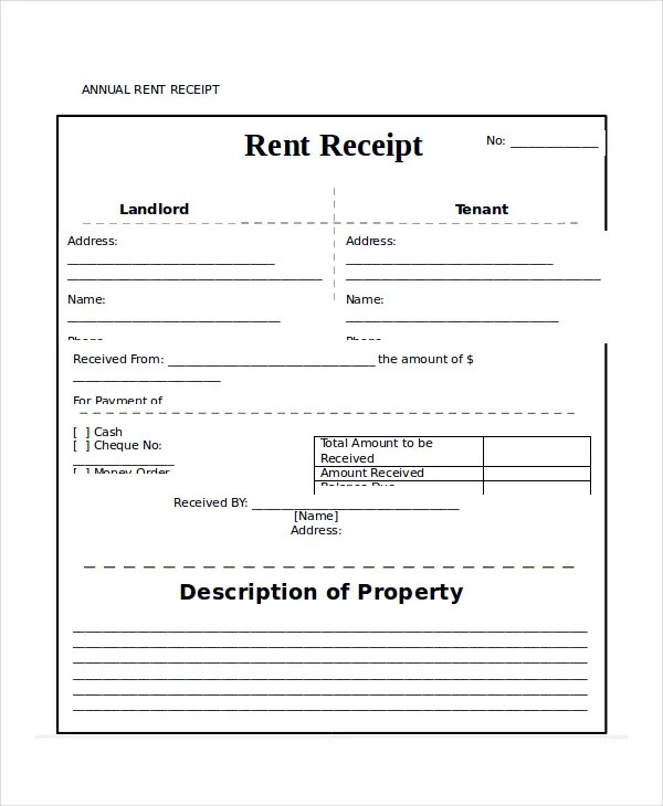 Rent Receipt Template - 20+ Free Word, PDF Documents Download Free
