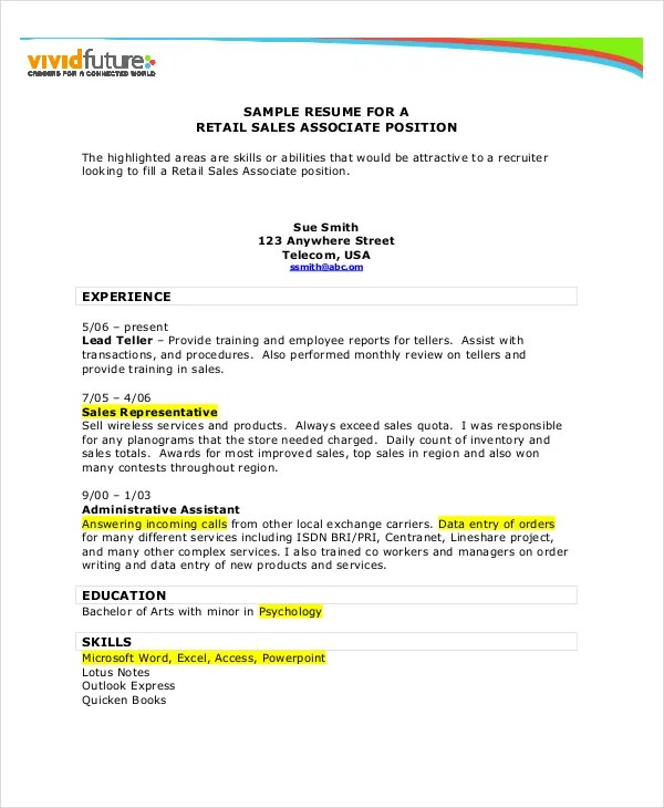 Sales Resume Example - 7+ Free Word, PDF Documents Downlaod Free - resume examples for sales
