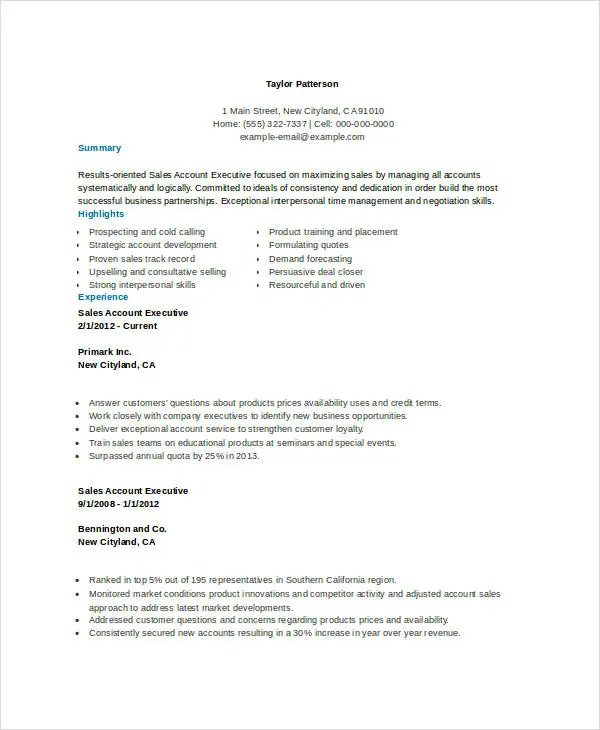 Sales Resume Example - 7+ Free Word, PDF Documents Downlaod Free - results oriented resume