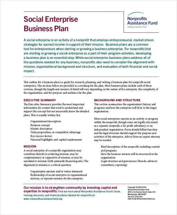 Non Profit Business Plan - 13+ PDF, Word Documents Download Free
