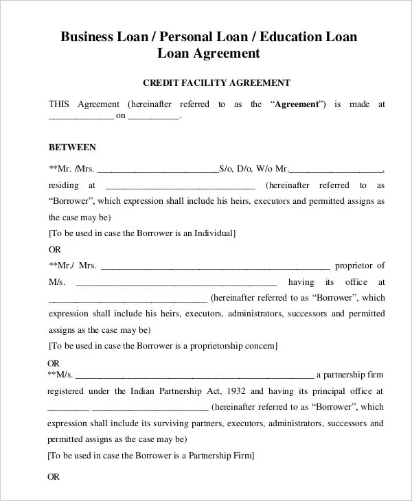Loan Agreement Template - 11+ Free Sample, Example, Format Free - loan templates
